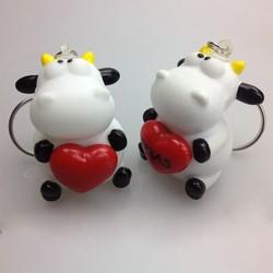 pass EN71 cow animal pvc keychains