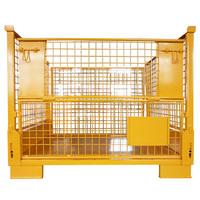 foldable storage rigid metal weld wire cage pallet