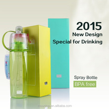 2015 best selling new design kids water bottle 600ml tritan mist spray bottle
