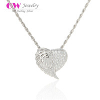 Angel Wing Shape Micro Zircon Stones Paved Silver Necklace Pendant