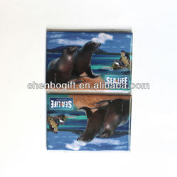 Custom souvenir tin fridge magnet / full color printing metal magnet / paper cover magnet