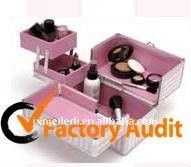 Fashion Pink Aluminum Cosmetic Train Case With Trays/Drawers MLD-AC598
