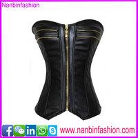 High quality black zipper leather steel boned corsets