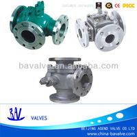 wcb/ss flange 3 way ball valve