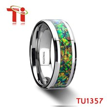 Ti fashion Comfirt Fit 8mm no plating tungsten opal inlay ring for men all size