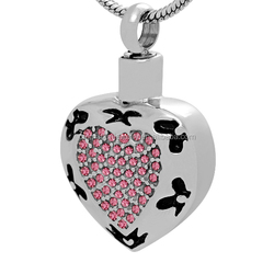 Ashed Memorial Gone Family Or Pet Animal Jewelry Stainless Steel Love You Forever Heart Shape CZ Inlay Cremation Urn Ash Pendant