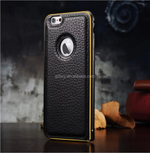 Latest design Metal Case Cover aluminum case bumper and Genuine leather for Apple iPhone 6 iPhone 6 Plus
