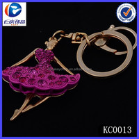 Promotional gift crystal pink girl dance metal keychain