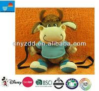 Factory Wholesale Animal Shaped Plush Backpack Cow Backpack/Kids Plush Backpacks/Cute Animal Backpack