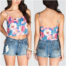 2015 trendy fashion floral printed crop tops for Lady Flower OEM wholesale