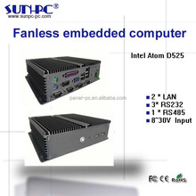 intel Atom D525 mini ITX fanless embedded computer pc ,embedded all-in-one pc 2*LAN,3*RS232,1*RS485
