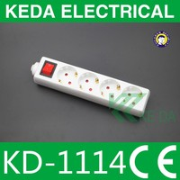 White Germany electrical extesnion socket with switch and surge protection CE/ROHS/GS
