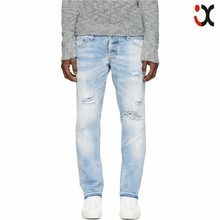 2015 fading creasing throughout pale blue bleached distressing slim fit jeans men JXQ895