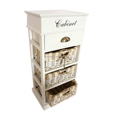 Wicker wooden Storage Unit chest of drawers cabinet storage baskets Brand New