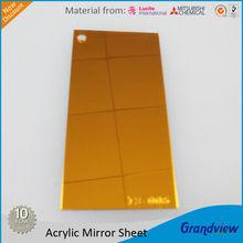 Acrylic golden color plastic 2mm super thin mirror sheet