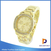Chinese Supplier Vogue Quartz Metal Gold Lady Watch