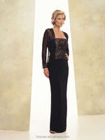 2 pieces long sleeve bateau neck mother formal beaded evening dress shawl