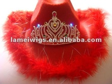 party feather cowboy hat with led tiara PHU-1302