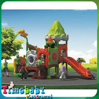 HSZ-KP5084A Green roof and Orange slide plastic outdoor adult playground