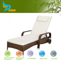 Portable Brown Indoor Outdoor Hotel Pool Furniture Outdoor Sun Loungers with Wheels