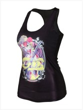 S60169A POPULAR BLACK CORPSE PATTERN SLEEVELESS T-SHIRT