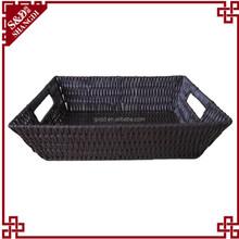 SD delicate handmade two handles plastic rattan storage baskets