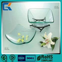 Unique design Clear color Glass salad plate with rack
