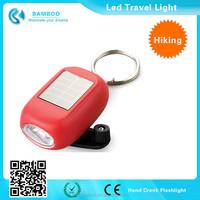 Mini Emergency Dynamo Solar Self Powered LED Flashlight w Keychain