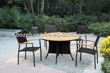 Popular Synthetic Rattan Furniture Outdoor Dining Table plastic wood dining set