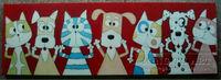 handmade kids room decoration cartoon animal painting on canvas dog and cat