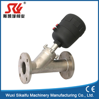 pneumatic actuator double acting Flange type angle seat valve ,SS304