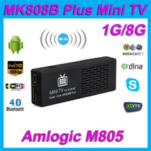 MK808B Plus Amlogic M805 Android 4.4 Quad Core TV Stick Dongle H.265 Decode 1G/8G Bluetooth WiFi XBMC Mini PC USB TF Ca