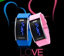 fashion sport water resistance LED watch blue word display