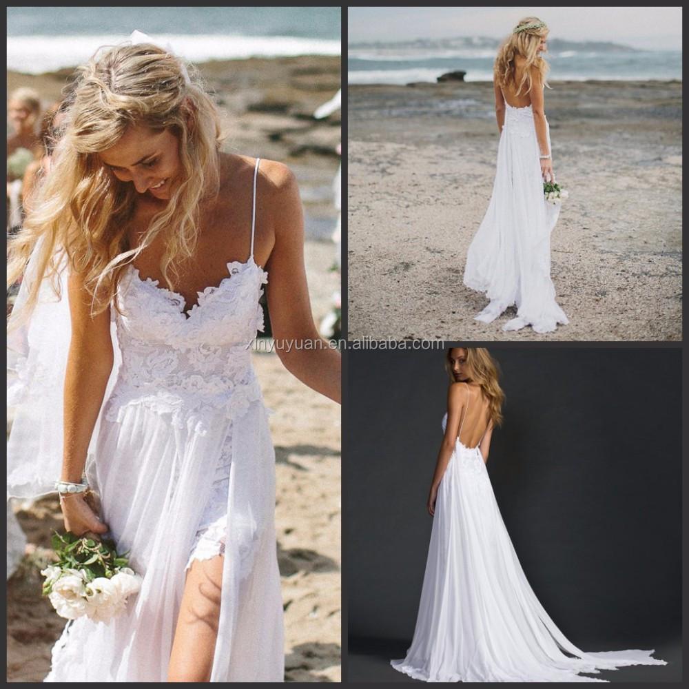 Spaghetti strap wedding gown flowing chiffon beach wedding for Flowing beach wedding dresses