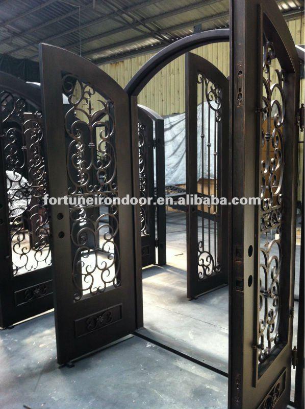 M tallique en fer forg double portes ext rieur portes id for Porte fer forge exterieur
