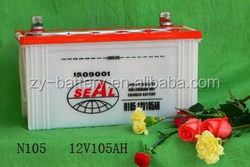 High quality 12V Battery 105AH Dry charged SEAL brand car battery