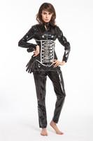 Instyles Black Catwoman False Leather Zipper Wetlook Jumpsuit Catsuit Club Fancy Dress