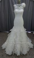 Chantilly lace wedding dress with white and crystal gemstone embroidery