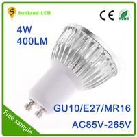 high quality ce rohs MR16/GU10/E27 4w led spotlight with white housing 400lm hid spotlight