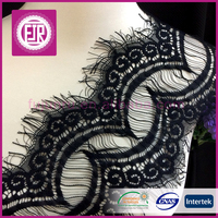manufacturers Lady Nylon embroidery black elastic scalloped edge french eyelash lace trim , lace for lingerie women underwear