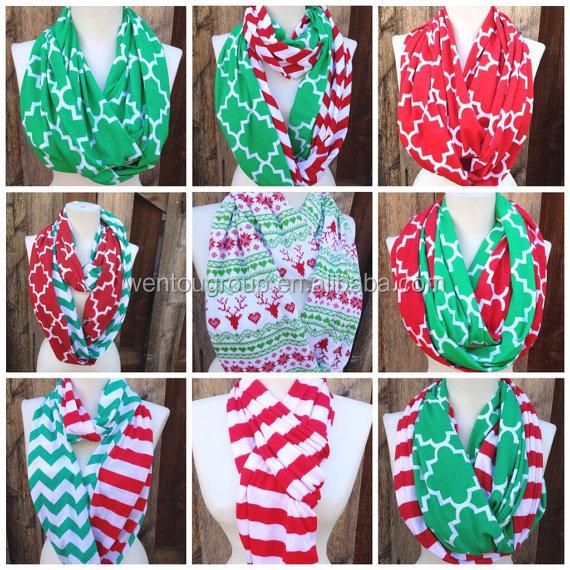 Rojo y verde de la navidad bufandas de rayas de chevron del infinito cuadrifolio algodon knit