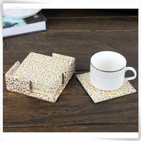 eco-friendly pu leather gold placemats and coasters