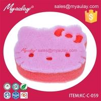 KC-C-059 Lovely cartoon shape foam kitchen scouring pad sponge cleaning sponge with dishwashing