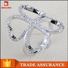 Pave setting unique design fashion ring jewelry 925 sterling silver finger knuckle ring for women