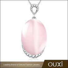 OUXI silver chain necklace patterns with pink crystal pendant Y30279