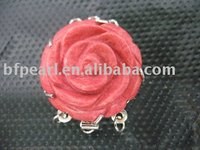 Red flower shape grass coral clasp