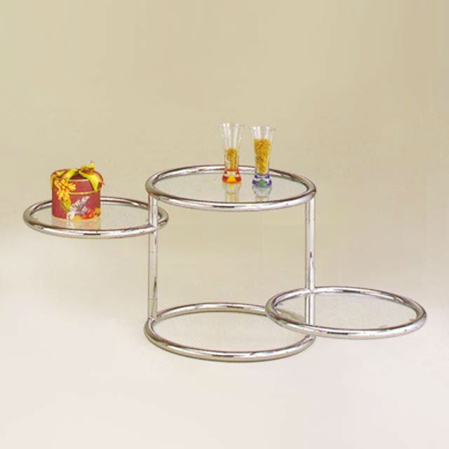 3 tiers clear glass round folding coffee table buy round - Folding glass coffee table ...
