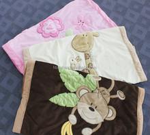 2015 new design applique 100% cotton OEM baby fluffy fleece blanket