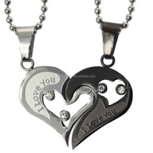 CN-022B Wholesale Fashion Stainless Steel Black Color Antique Heart Pendant for Couple Jewlery
