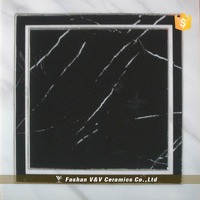 Glazed Porcelain Black Floor Tile Porcelain Tiles 30x30 With Non Slip